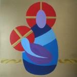 Maternità - acrilico tecnica mista su tela 50x50